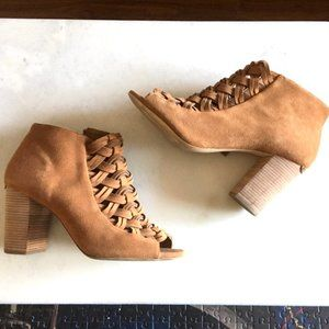 Michael Kors tan suede ankle boots open toe bootie